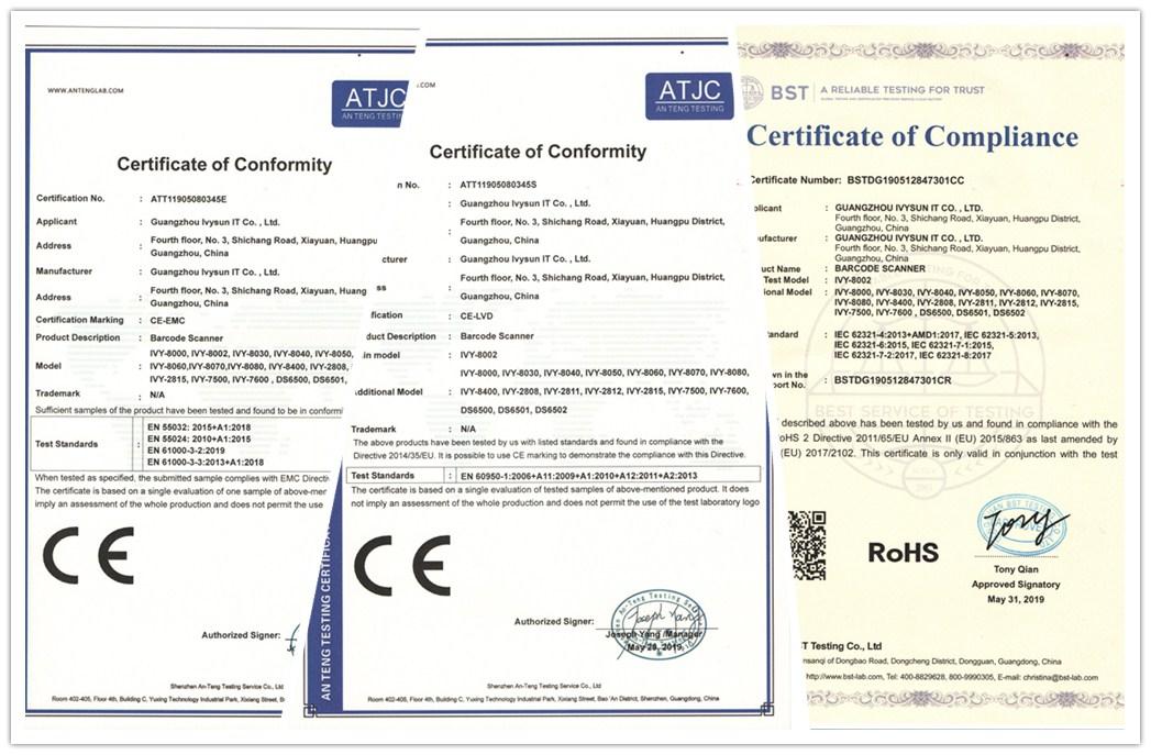 喜讯:广州艾韦迅科技自主研发扫描枪产品通过欧盟CE和ROHS认证