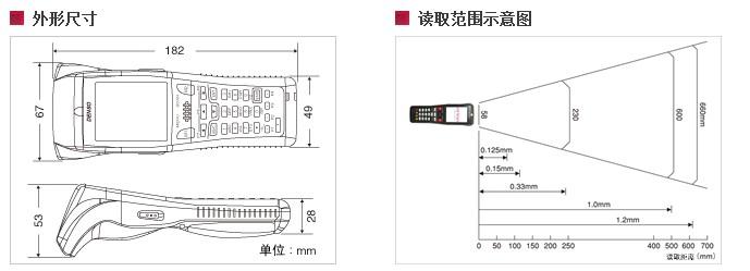 Denso BHT-800B数据采集器的尺寸图与读取范围: