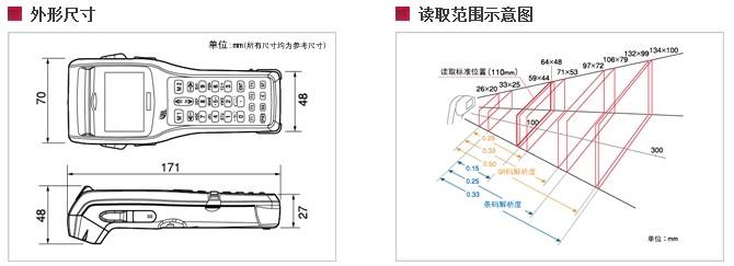 BHT-300Q数据采集器外形与读取范围示意图