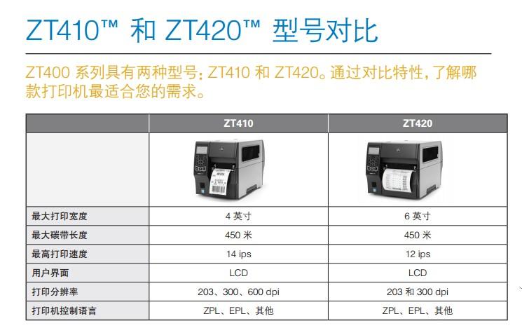 斑马打印机ZT400系列